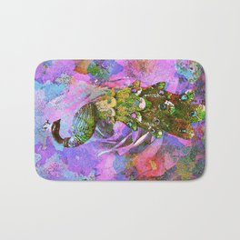 Peacock Watercolor Bath Mat