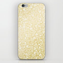 Hand painted modern faux gold white floral pattern iPhone Skin