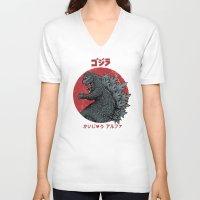 kaiju V-neck T-shirts featuring Gojira Kaiju Alpha by Pigboom Art