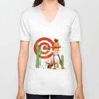 cowboy V-neck T-shirts featuring Cowboy by Nacho Z. Huizar