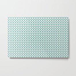 Aqua Teal Turquoise Solid Color V Shape Horizontal Chevron Line Pattern on Alabaster Off White - Aquarium SW 6767 Metal Print