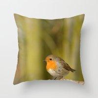 robin Throw Pillows featuring Robin by Susann Mielke