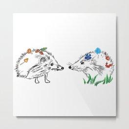 Hedgehogs Meeting Metal Print