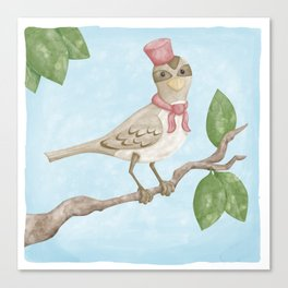Sparrow with hat Canvas Print