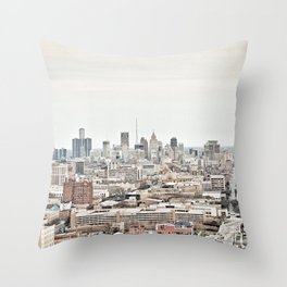 Downtown Detroit Skyline View from New Center Throw Pillow