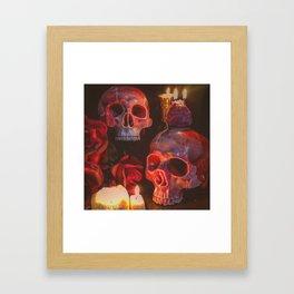 Catacomb Culture - Rose Skull Candle Framed Art Print