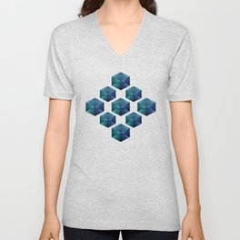Aqua blue sparkles diamond geometric pattern on black Unisex V-Neck