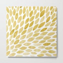 Watercolor brush strokes burst - yellow Metal Print