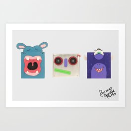 90's CARTOON STYLE BOXHEADS Art Print