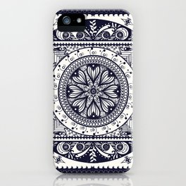 Navy Blue Mandala iPhone Case
