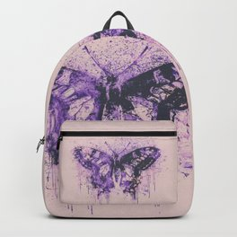 Artsy Butterfly Mixed Media Art  pastel pink and purple Backpack