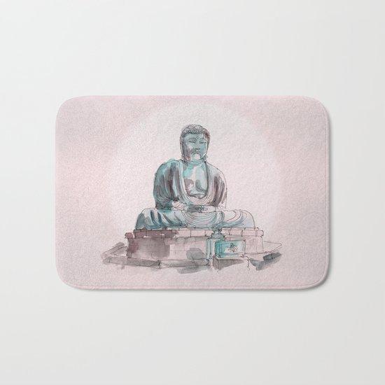 Peace and Harmony watercolor buddha pastel illustration Bath Mat