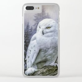 Snowy owl in mist Clear iPhone Case