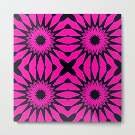 Pink & Black Flowers Metal Print