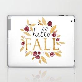 Hello Fall, Autumn Watercolor Painting, Calligraphy, Orange Yellow Laptop & iPad Skin