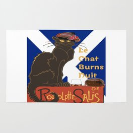 Le Chat Burns Nuit Haggis Dram Scottish Saltire Rug