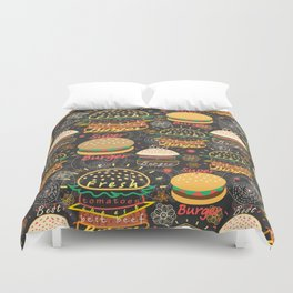 Graphic seamless pattern bright tasty burgers on a dark background Duvet Cover