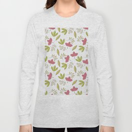 Pink green ivory hand painted autumn leaves pattern Long Sleeve T-shirt