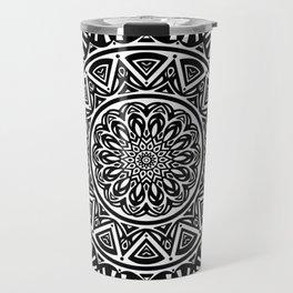 Black and White Simple Simplistic Mandala Design Ethnic Tribal Pattern Travel Mug
