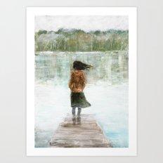 Girl on the pier Art Print