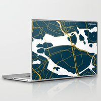 sweden Laptop & iPad Skins featuring Stockholm Sweden Map by Studio Tesouro