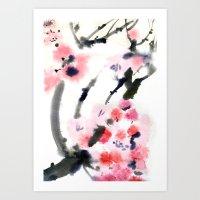 sakura Art Prints featuring Sakura by Nina