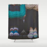socks Shower Curtains featuring wool socks. by lissalaine