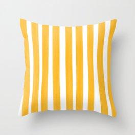 Sunny Yellow Paint Stripes Throw Pillow