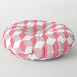 Diamond Repeating Pattern In Poppy and Soft Grey Floor Pillow
