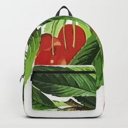 Red Cherries Vector on White Background Backpack