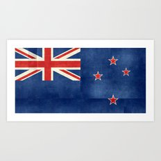 National flag of New Zealand - Folded paper version -  High Quality image Art Print