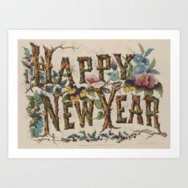 Vintage Happy New Year Illustration (1876) Art Print