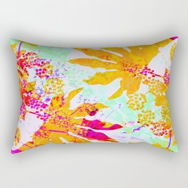 Tropical Adventure - Neon Orange, Pink and Mint Rectangular Pillow