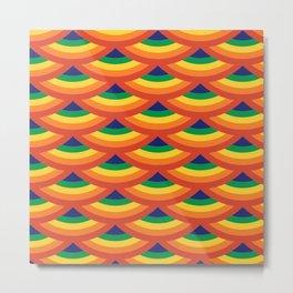 Retro Rainbow Scallops Metal Print