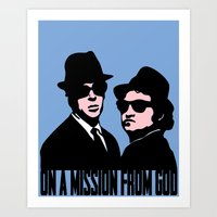 blues brothers Art Prints featuring Blues Brothers by John Medbury (LAZY J Studios)