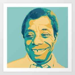 James Baldwin Portrait Teal Gold Blue Art Print