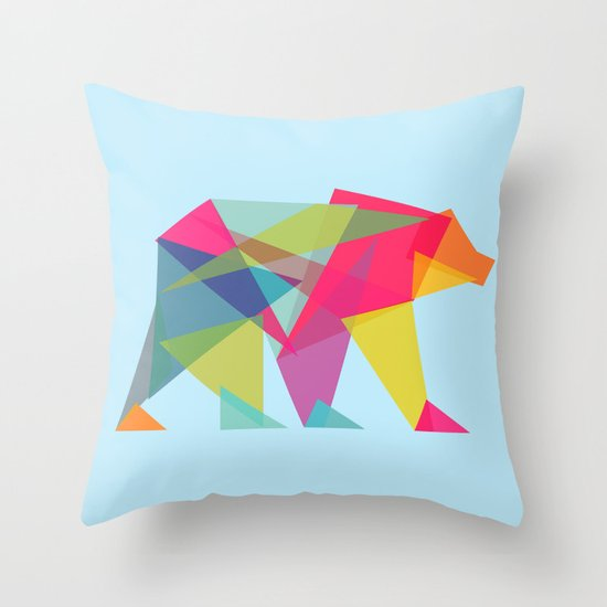 Fractal Bear - neon colorways Throw Pillow