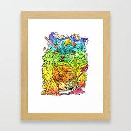 Maneki-Neko Noodles  Framed Art Print