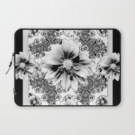 Black & White Geometric Floral Laptop Sleeve