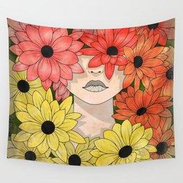 Flower Garden Girl Wall Tapestry
