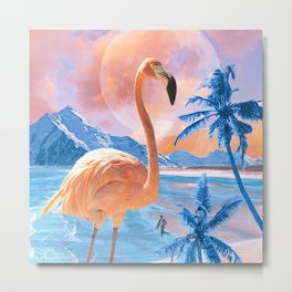 Flamingo World #digitalmagic #collage  Metal Print