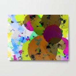 geometric circle pattern abstract in yellow brown pink green Metal Print
