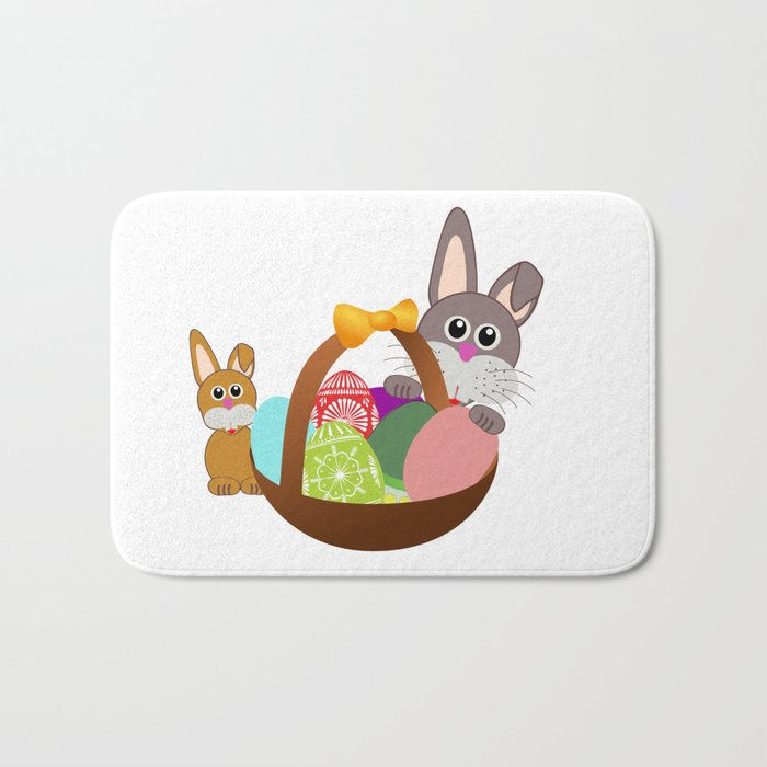 Easter Bunnies and Basket of Eggs Bath Mat