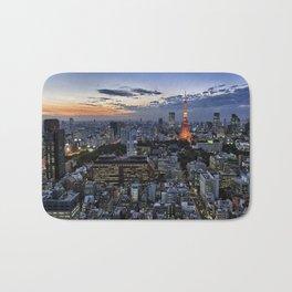 Tokyo Tower Cityscape at Dusk Bath Mat