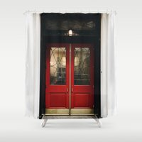 doors Shower Curtains featuring Red Doors by Alden Terry