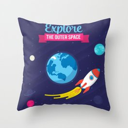 Explore the outer Space Throw Pillow