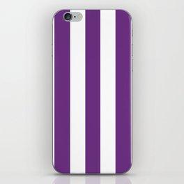 Eminence violet - solid color - white vertical lines pattern iPhone Skin