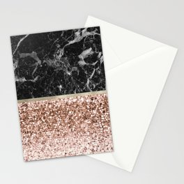 Warm chromatic - rose gold and black marble Stationery Cards