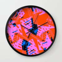 orange pattern Wall Clocks featuring Orange Pattern by Sarah Bagshaw