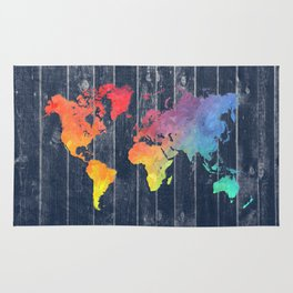 world map 97 colors blue #worldmap #map Rug